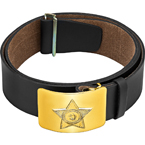 "Leather waist belt RPS-01-10, ""USSR"" buckle (Zavod Trud) (Black)"