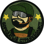 "Patch ""Bearded airsoft player"", diameter 7.5 cm"