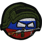 "Patch ""Countryball Russia machine gunner"", 6 x 5.2 cm"