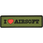 "Patch ""I Love Airsoft"", PVC, olive, 8.4 x 2.4 cm"