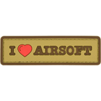 "Patch ""I Love Airsoft"", PVC, tan, 8.4 x 2.4 cm"