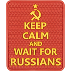"Patch ""Keep calm and wait for Russians"", PVC, red, 5.7 x 6.8 cm"