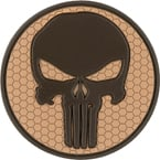 "Patch ""Punisher"", PVC, hex, tan, diameter 5.9 cm"