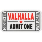 "Patch ""Ticket to Valhalla"", PVC, white, 7.5 x 4 cm"