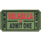 "Patch ""Ticket to Valhalla"", PVC, olive, 7.5 x 4 cm"